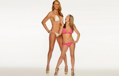 At 6 foot 8, Amazon Eve, right, might be the world's tallest model