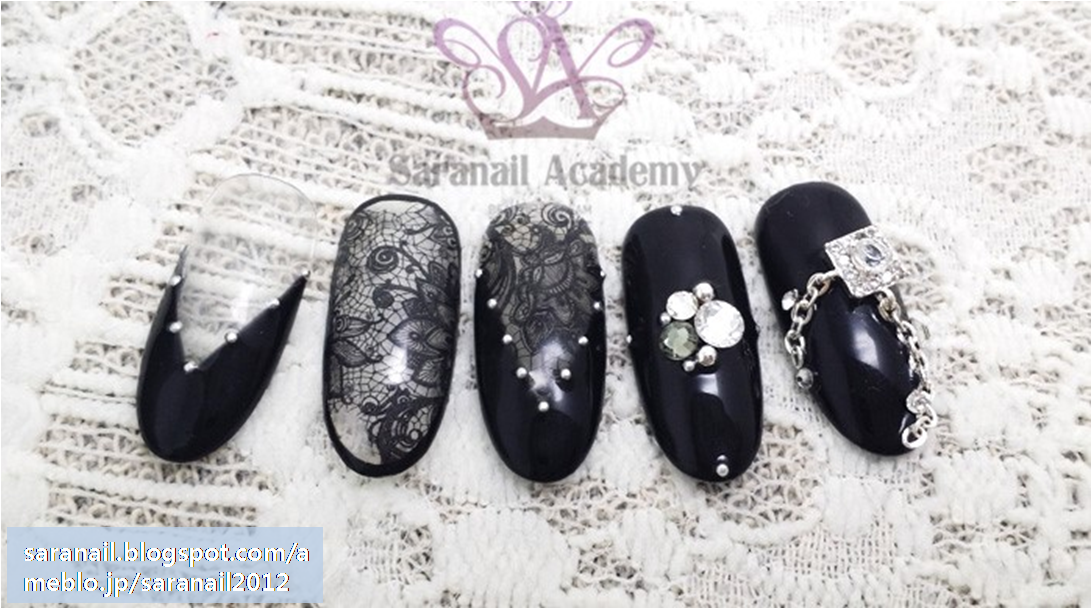 See-Through Style Nail art/ Dry Decal Sticker/ DGEL PREMIUM STICKER DECAL/ Black Color Nail Art/ Lace Pattern Nail Art/ Easy-to-follow Nail Art