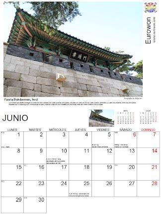 Ejemplo del calendario de Corea para 2015