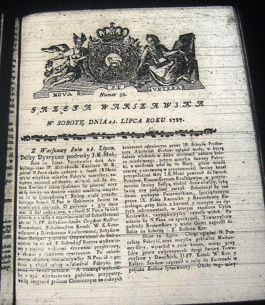 """Dokumenty z epoki - relacja """"na żywo"""" ks. Adama Naruszewicza zamieszczona w Gazecie Warszawskiej w lipcu 1787 roku (kolejne numery). Fotografia z mikrofilmów."""