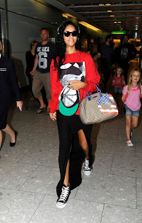 Rihanna spotted at London's Heathrow Airport on August 27th 2012.