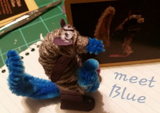 blue squirrel king craft kit  completted squirrel