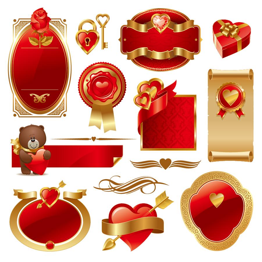 金色と赤の豪華なバレンタインデー素材 love Valentines Day elements イラスト素材
