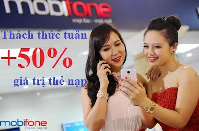 Ưu đãi 50% từ Thách thức tuần Mobifone ngày 29/10 - 04/11