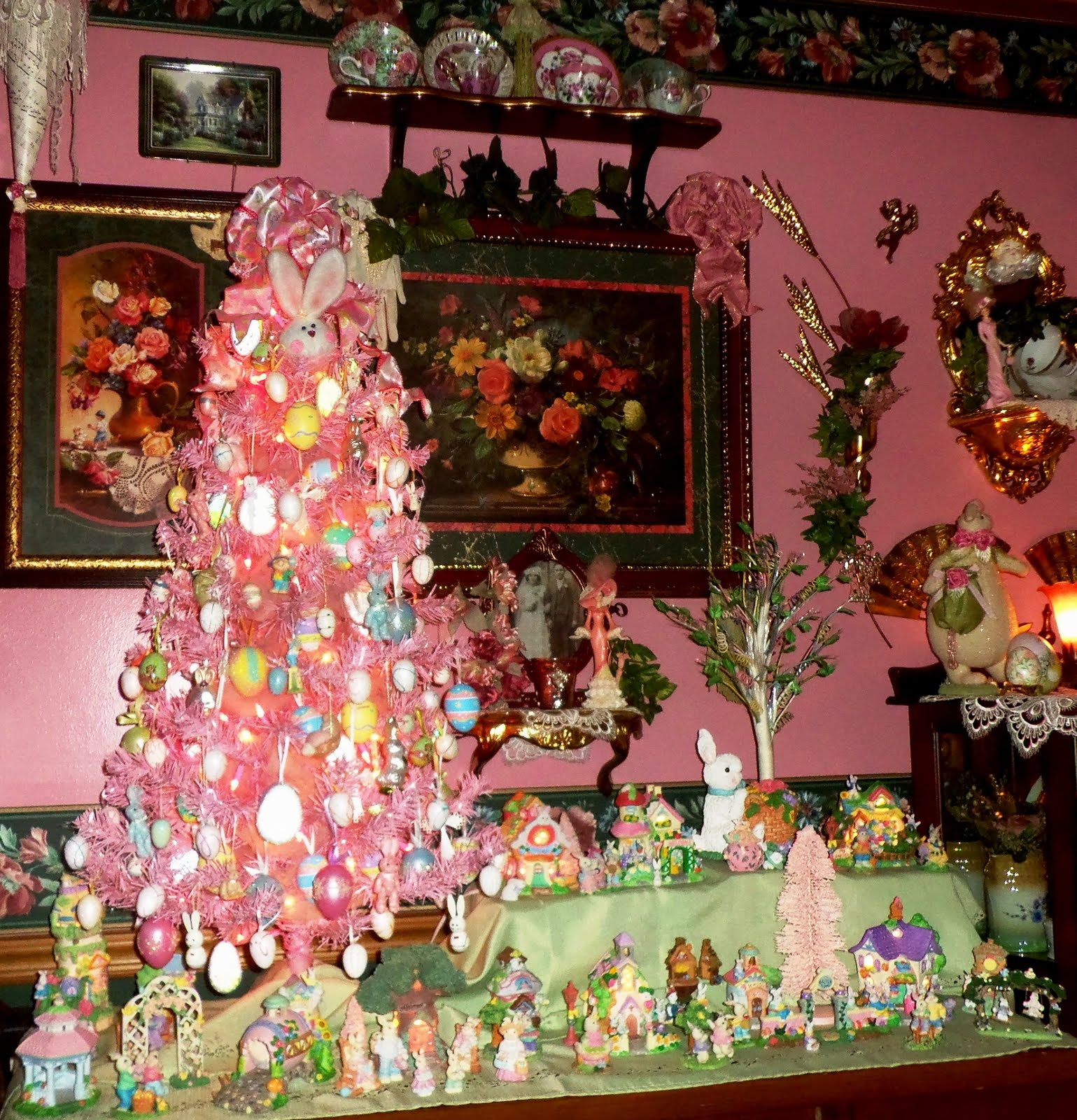 Pink Easter Tree and Bunny Village in the Dining Room, 2016