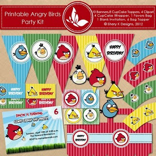 Cute Angry Birds Free Printable Kit.