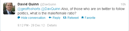 @GeoffsShorts Also, of those who are on twitter to follow politics, what is the male/female ratio?