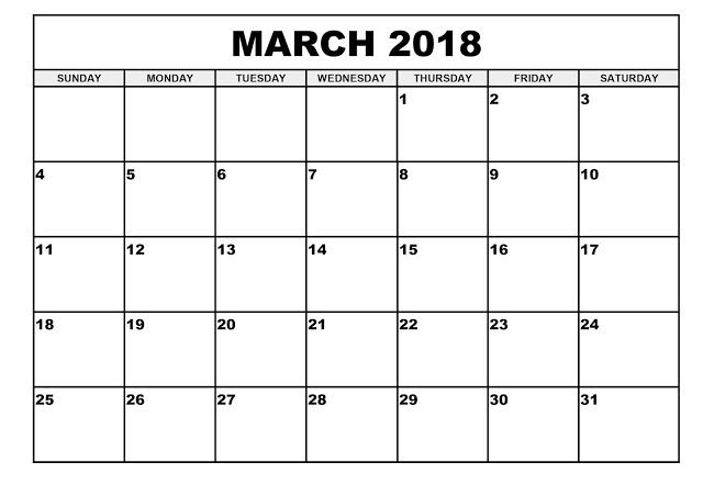 Download March 2018 Calendar Printable Templates - Webelator