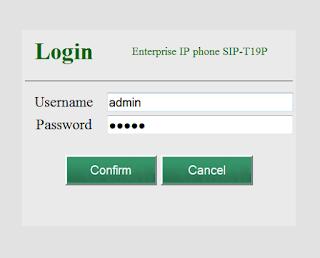 Yealink default password SIP-T19P