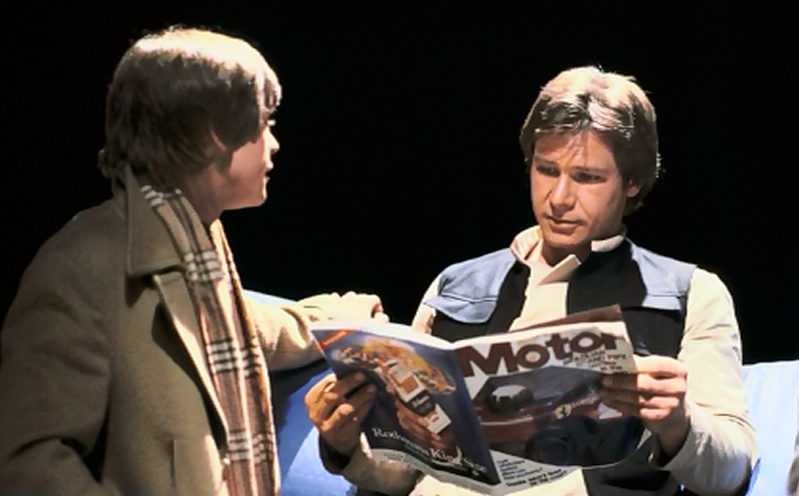 Mark Hamill Talks To Harrison Ford While Reading Motorsport Mag.