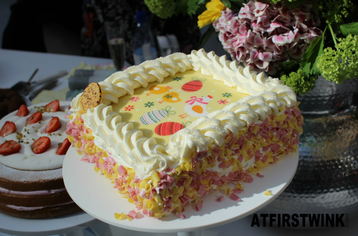 HEMA Easter cake with yellow and pink chocolate flakes