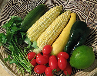 Corn, Squash, Lime, Cilantro, Poblano Chili and Tomatoes