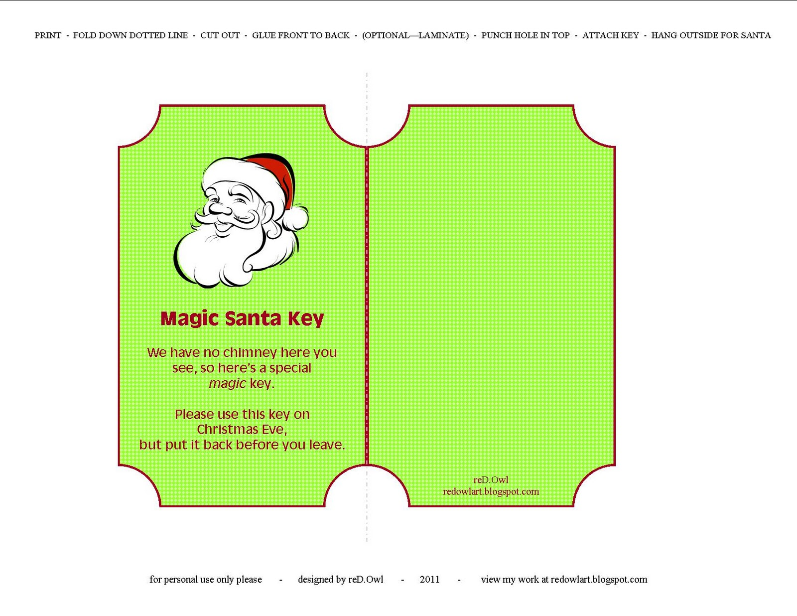 reD.Owl: Magic Santa Key *FREE PRINTABLE*