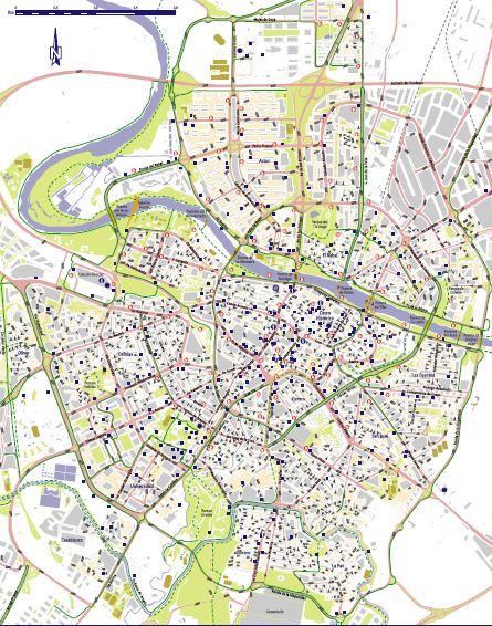 Mapa plano de carril bici y aparcabicis en Zaragoza