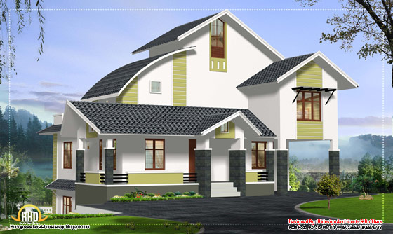 Contemporary home design for stepped ground - 3067 Sq. Ft. (285 Sq.M.) (341 Square Yards)- April 2012