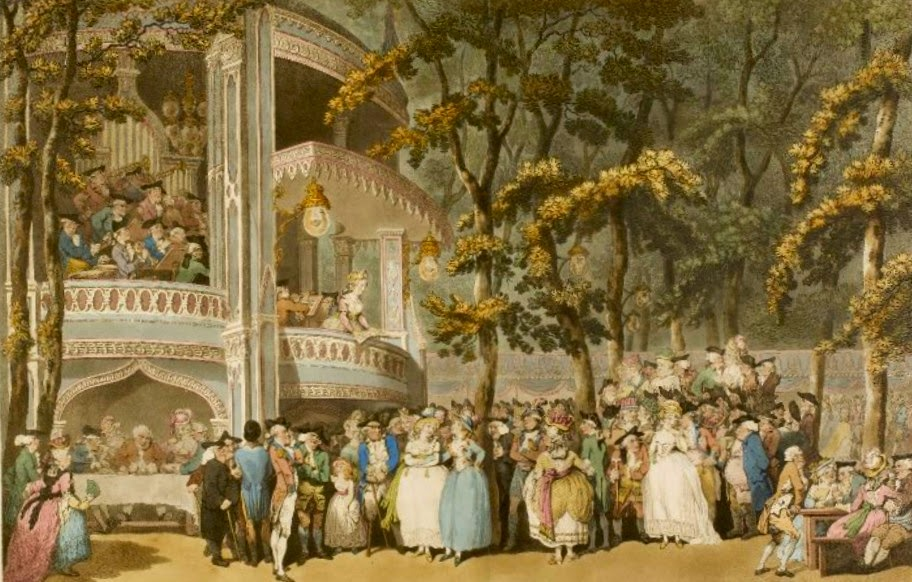 Vauxhall by T Rowlandson  - Mary is on the right in a white dress with the Prince of Wales  at her side © British Museum