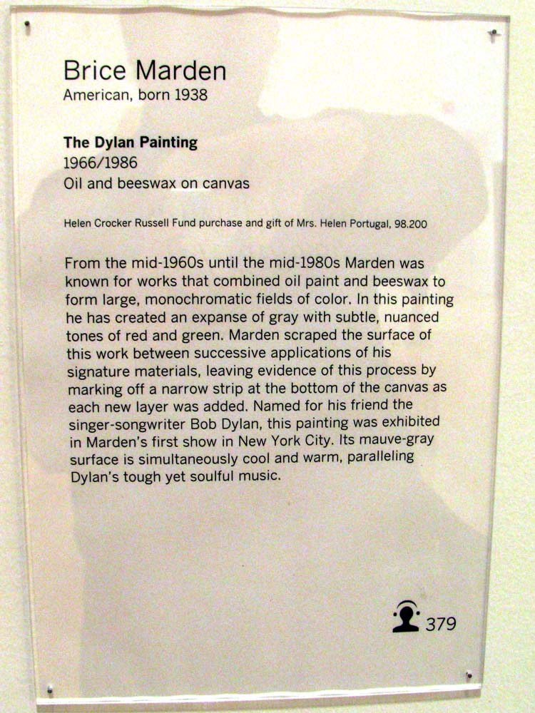 Brice Marden at SFMOMA - The Dylan Painting description