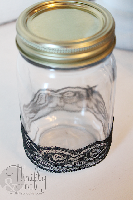 Spray paint mason jars for Halloween with lace! Great last minute DIY Halloween project