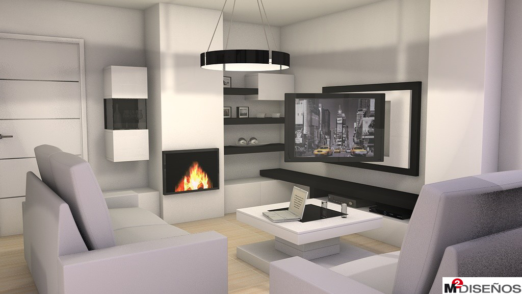 Salon comedor dise o blanco panel tv extra ble m dise os for Salones modernos con chimenea