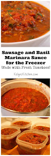 Sausage and Basil Marinara Sauce for the Freezer, Made with Fresh Tomatoes [from KalynsKitchen.com]