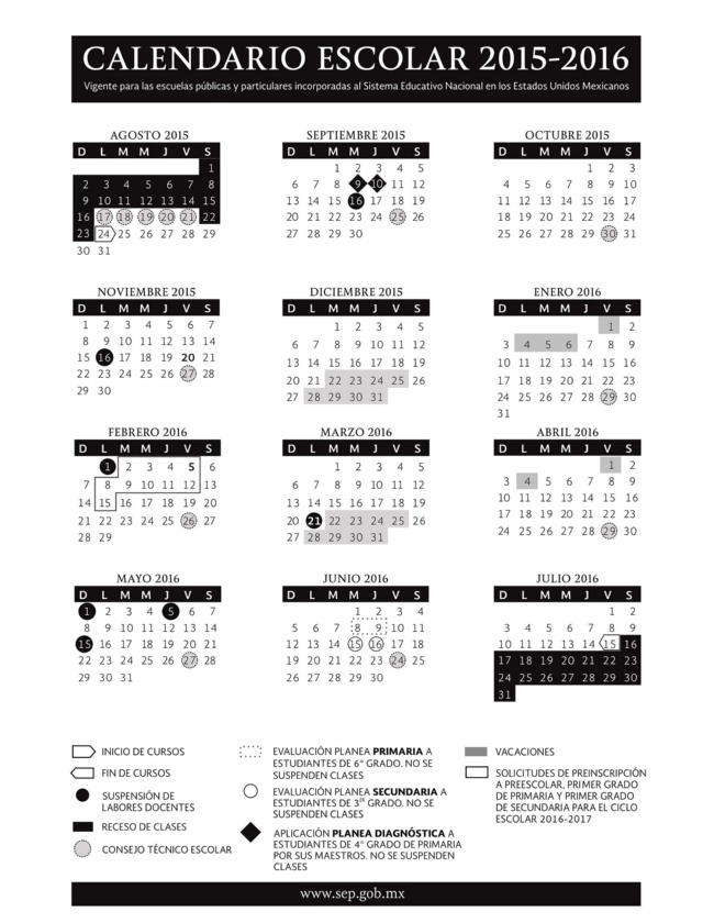 Calendario SEP Ciclo Escolar 2015-2016