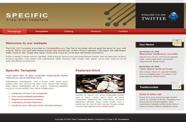Free html red brown business css website template free web free red brown business css website template fbccfo Images