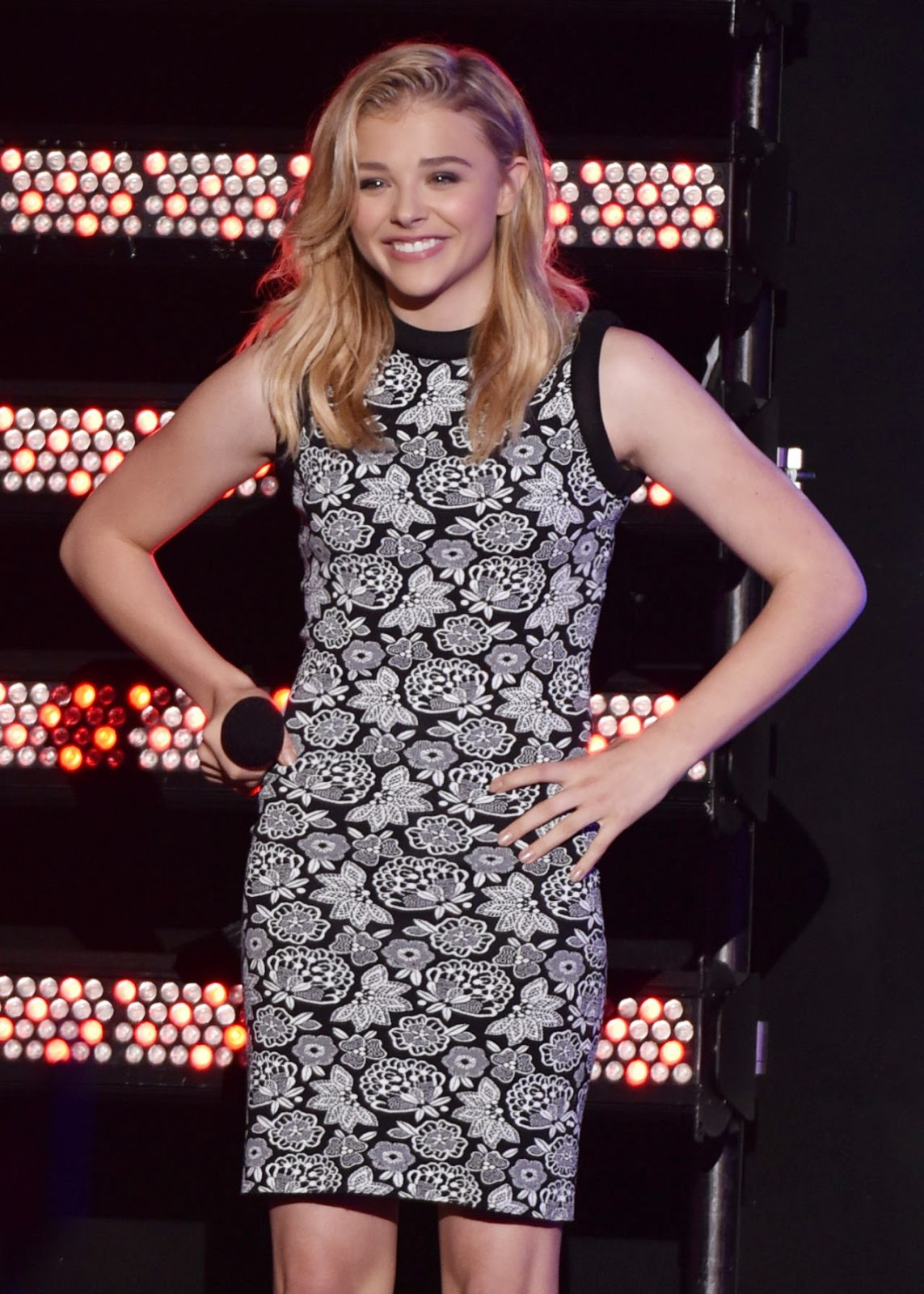 Chloe Moretz in an embroidered mini dress at the mtvU Fandom Awards at Comic-Con 2014