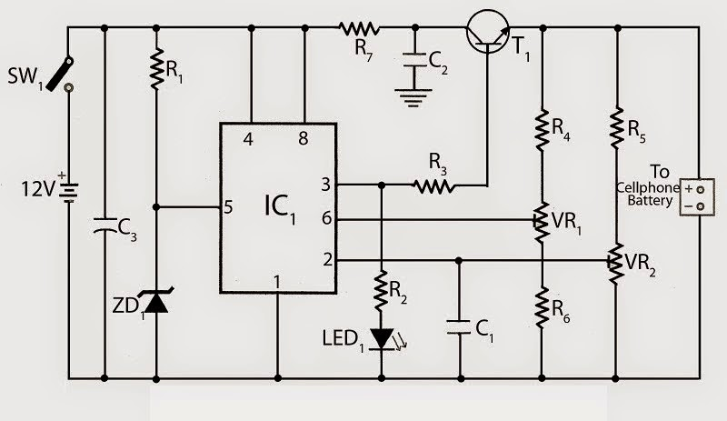 Mobile cellphone charger using 555 ic schematics world circuit diagram publicscrutiny Choice Image