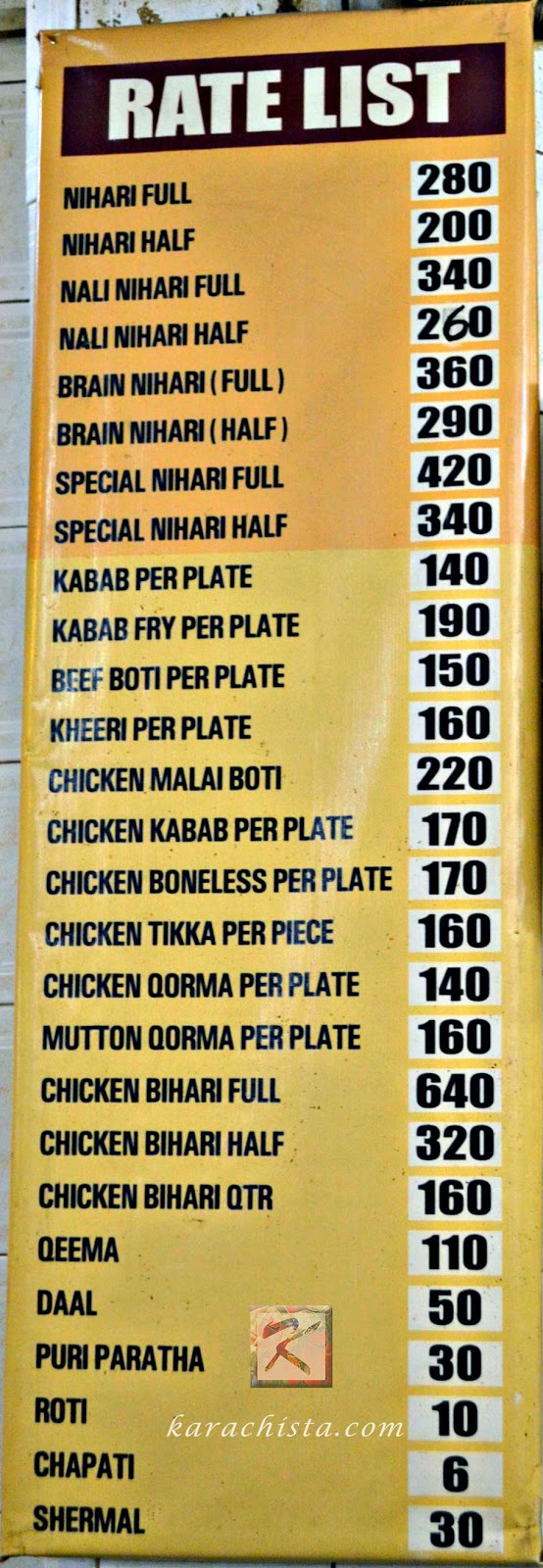 The menu at Waheed Kebab House Karachi