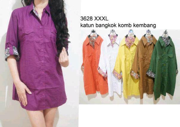 blouse katun bangkok kombinasi kembang M-3628