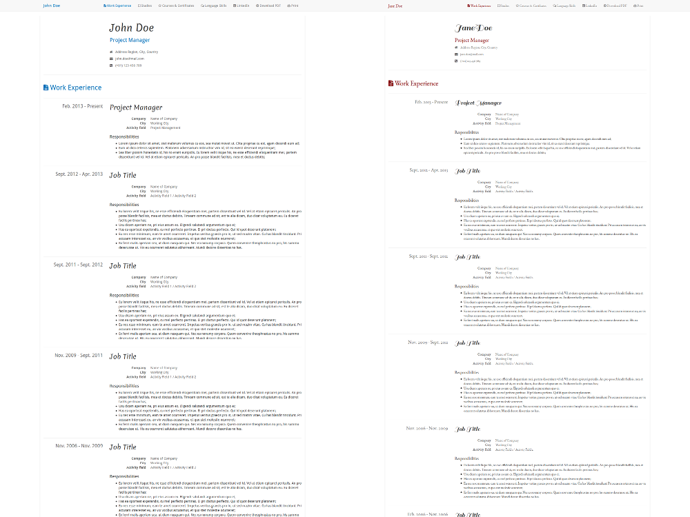 his hers free html5 css3 bootstrap3 resume template