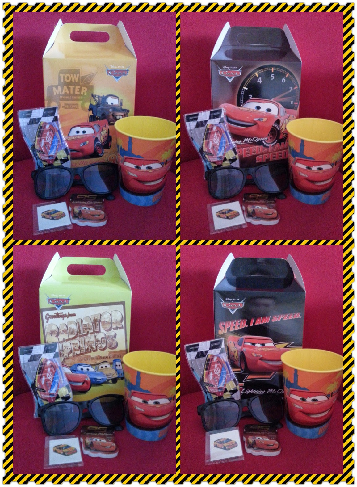 Disney Cars Party Favor Box Includes A Car Keepsake Cup Sunglasses Note Pad Tattoo And Maze Game Or Luggage Tag