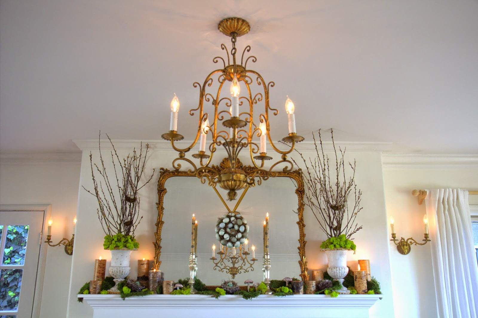 Woodland Party; Living Room mantle, chandelier, and sconces: Nora's Nest