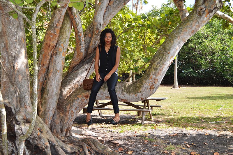 Fashion Blogger Anais Alexandre of Down to Stars at Barnacle Historic State Park in Coconut Grove Florida in a vintage top, Jolt leather pants, Urban Outfitter maryjanes and American Apparel vintage sunglasses