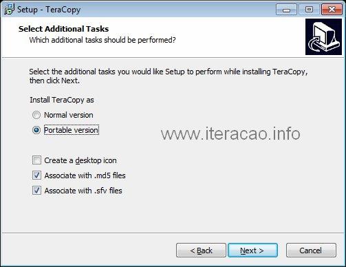 Instalar o Teracopy como aplicativo portátil.