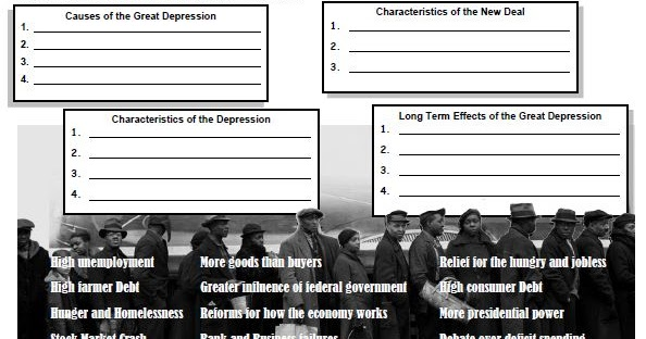 Students of History Causes and Characteristics of the Great – Great Depression Worksheet