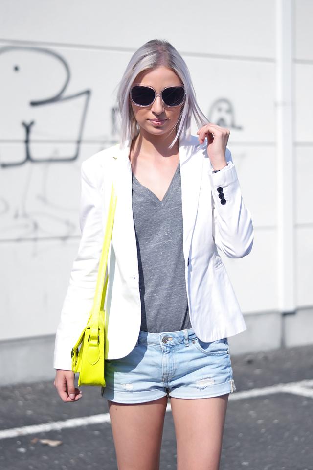 Bright yellow outfit, white blazer, zara, satchel bag, neon vans, ootd, summer 2015