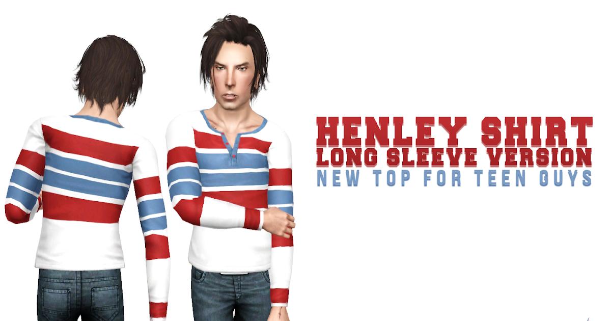 Simsational Designs Henley Long Sleeve Shirt Teen Version