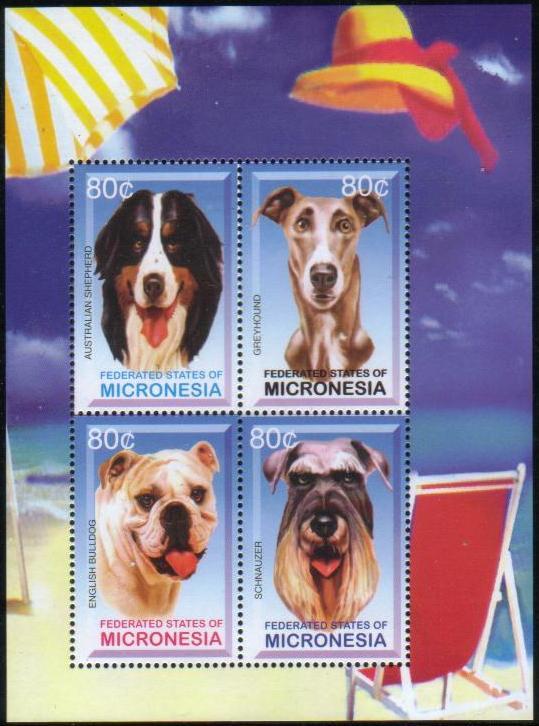 年度不明ミクロネシア連邦 オーストラリアン・シェパード グレイハウンド イングリッシュ・ブルドッグ シュナウザーの切手シート