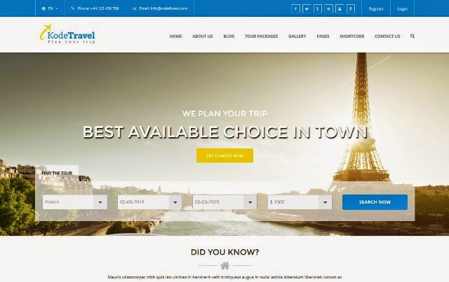 KodeTravel - Tourism HTML5 Template