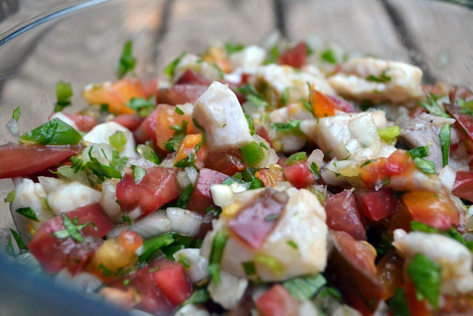 little c cooks: Mahi Mahi Ceviche with Heirloom Tomato Pico de Gallo