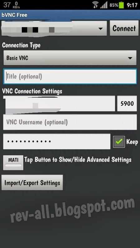 Tampilan bVNC free - client untuk mengoperasikan perangkat Android atau laptop dari jarak jauh (rev-all.blogspot.com)
