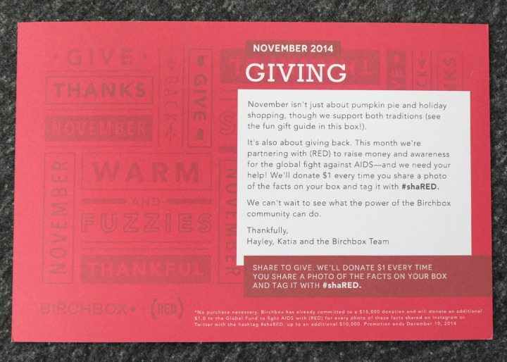 Birchbox November 2014 Review & Unboxing #shaRED RED info card Giving