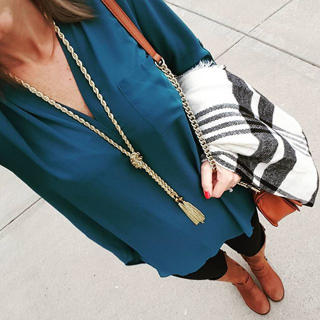 Lush Perfect Roll Tab Sleeve Tunic - only $25, regular $42 + tons of color options // Zella Live-In Leggings // Target Scarf // Jessica Simpson Elmont Boots - only $52, regular $159! // Purple Peridot Necklace - only $13, regular $30! // Rebecca Minkoff Handbag