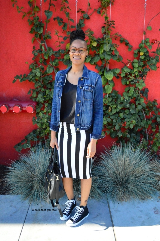 Striped pencil skirt pose3 {who is that girl mo?}