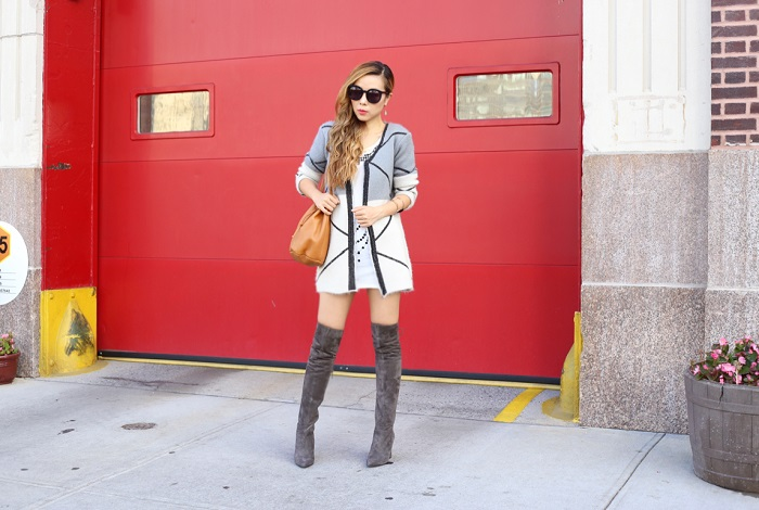 Shein print cardigan, fall cardigan, baggu bucket bag, karen walker super duper sunglasses, kendra scott earrings, otk boots, over the knee boots, fall essentials, fall uniform, fashion blog, street style, nyc blog, gorjana statement necklace