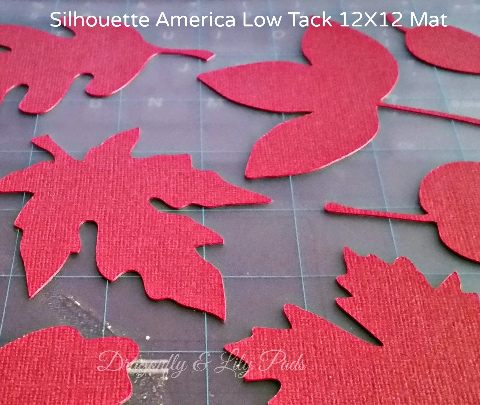 Red Silhouette Fall cut leaves, weeded, 12 X 12 Silhouette Low tack cutting mat