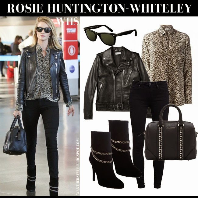 Rosie Huntington-Whiteley in black leather Saint Laurent jacket, leopard print Saint Laurent blouse, black skinny jeans Paige Denim Hoxton with ankle boots and sunglasses may 3 2015 what she wore chic streetstyle