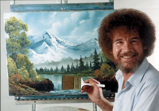 bob ross, afro, fro, hair, joy of painting, brush, how to paint