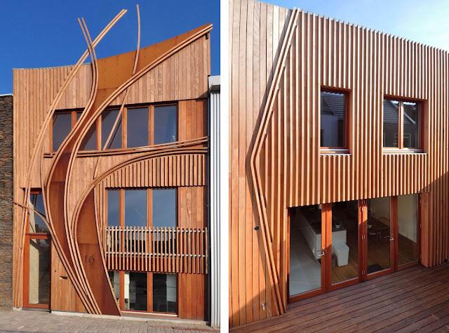 Fachada de madera y acero corten casa nieuw leyden for Fachada acero corten